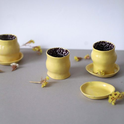"Set decorative glasses ""Lemon Cake"" (Artistic ceramics)"