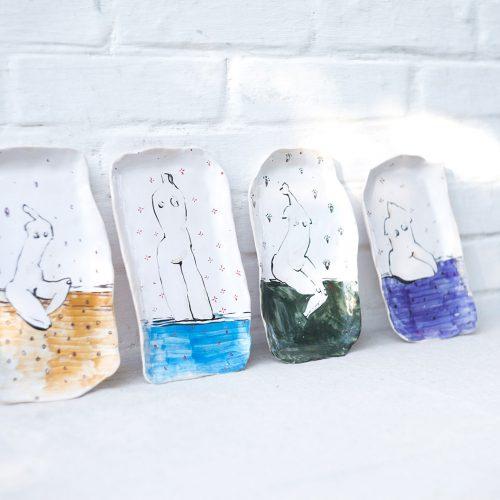 "Decorative plates from ceramics - Series ""Naked"" (Handmade)"
