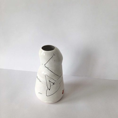 Rear view - Vase for flowers from ceramics