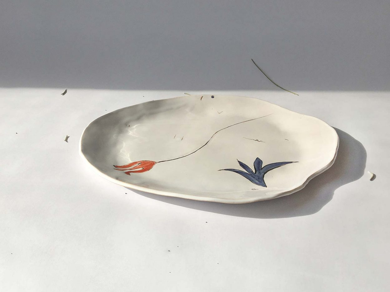 """Side view - Plate from ceramics """"Composition No. 4"""""""
