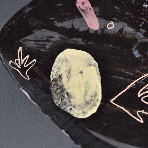 Front view - Decorative plate from ceramics (Handmade)