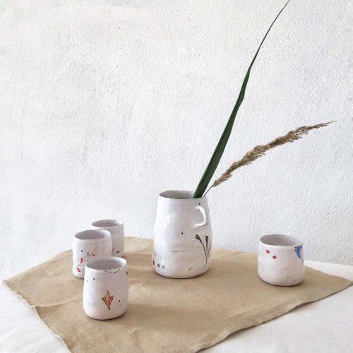 "Glasses and jug — Set ""Wild Flowers"""