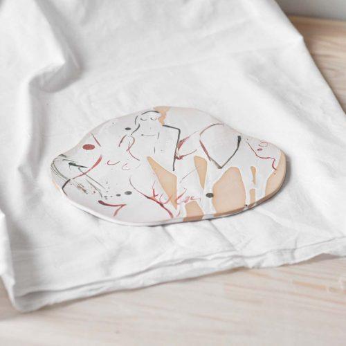 Side view - Decorative ceramic plate (Handmade)