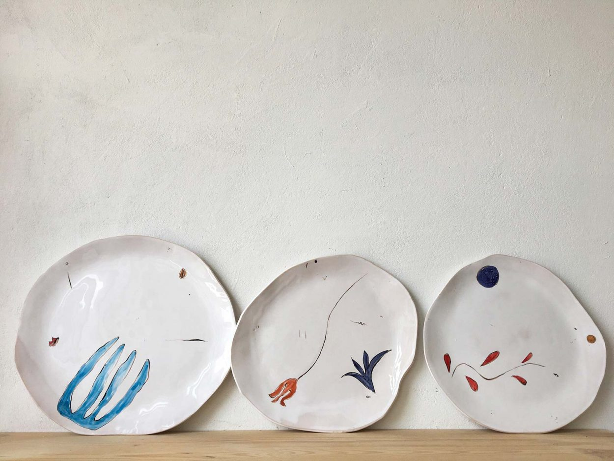 Plates handmade with artistic composition