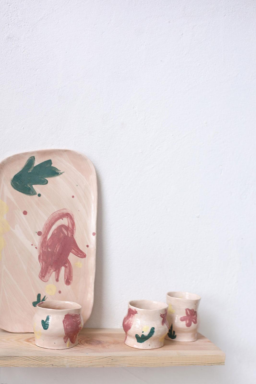 Декоративна плоска тарілка з кераміки - Набір «Невимушеність №2» (Ручна робота)