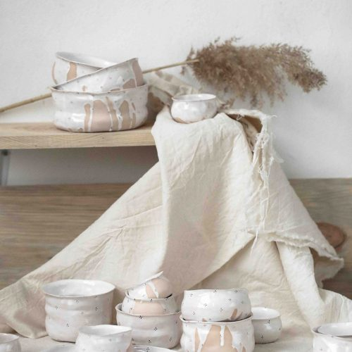 Колекція декоративного посуду «Квіти з молоком» (Художня кераміка)