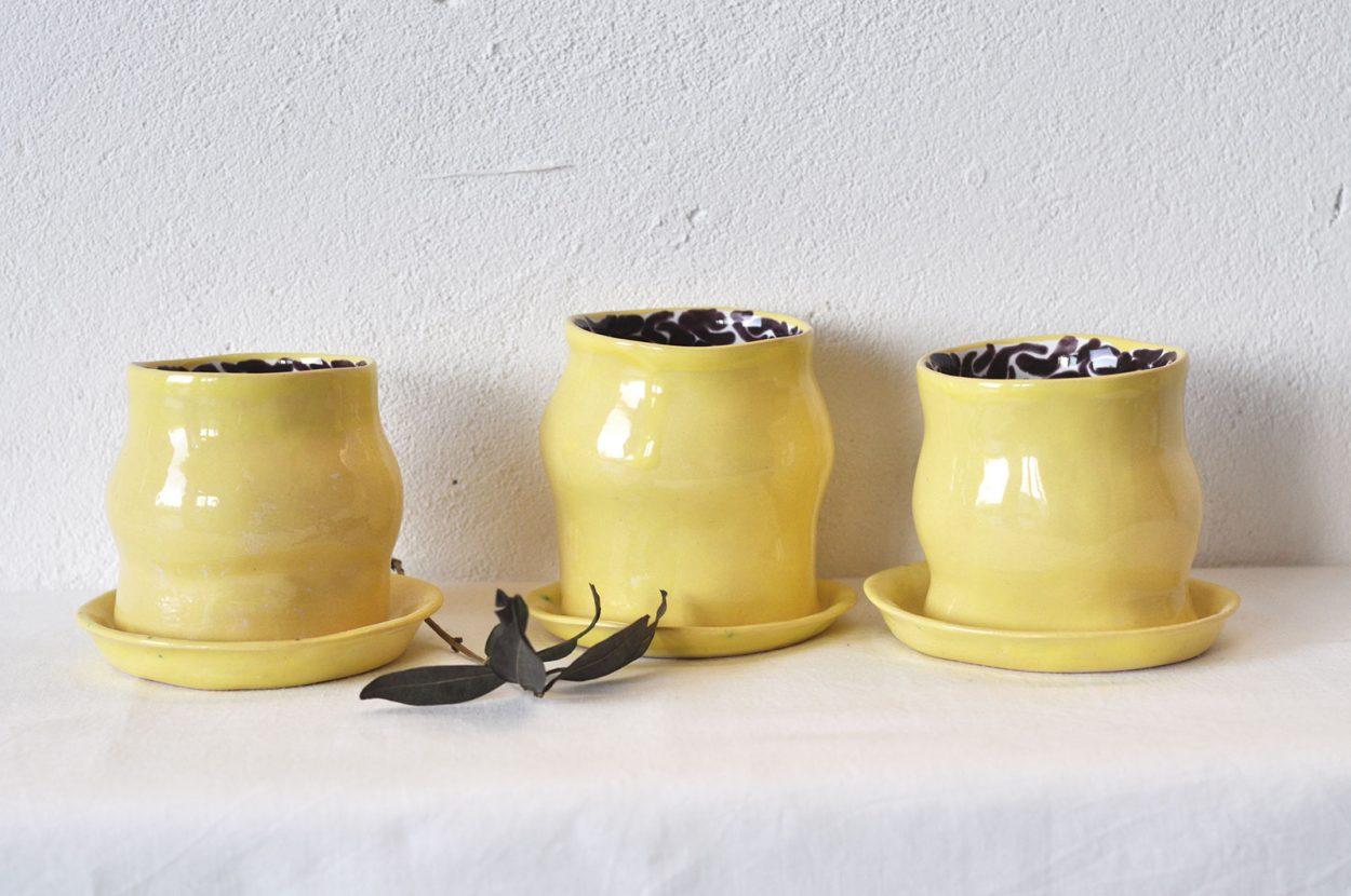 Набір декоративних склянок «Лимоновий пиріг» (Художня кераміка)
