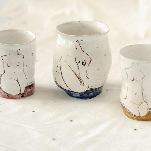 Декоративні склянки з кераміки - Серія «Оголені» (Ручна робота)