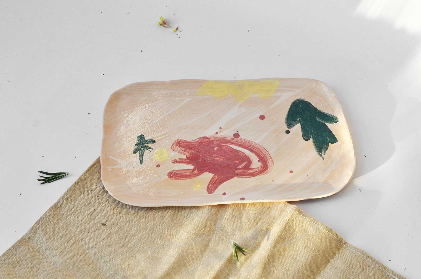 Прямокутна декоративна тарілка з кераміки (Ручна робота)