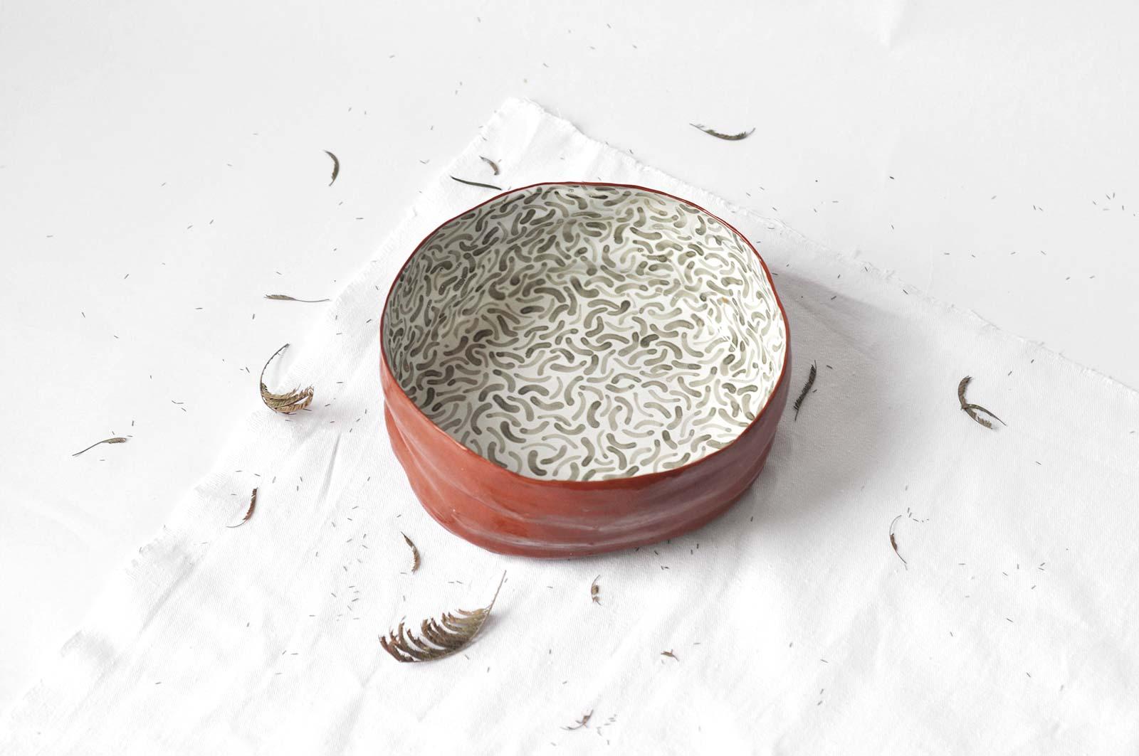 Вид збоку - Велика глибока тарілка з з кераміки (Ручна робота)