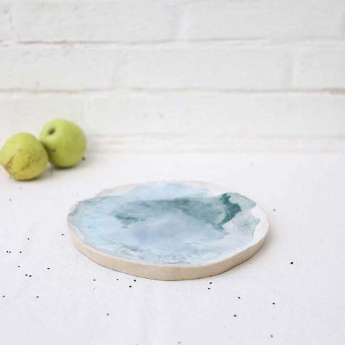 Вид сбоку - Большая декоративная тарелка из керамики (Ручная работа)
