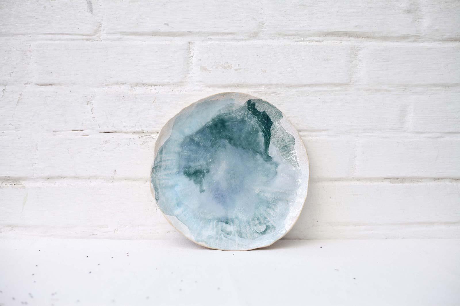 Большая декоративная тарелка из керамики (Ручная работа)