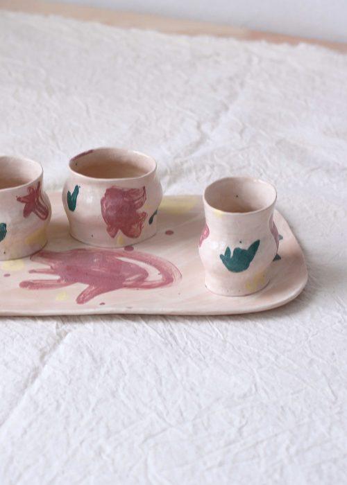 Декоративная плоская тарелка из керамики - Набор «Непринужденность №2» (Ручная работа)