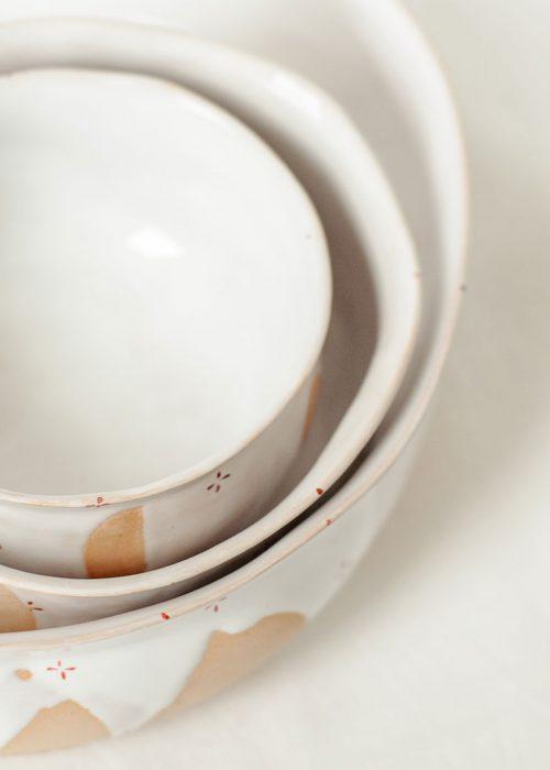 Декоративные тарелки и пиалы из керамики - Коллекция «Цветы с молоком» (Ручная работа)
