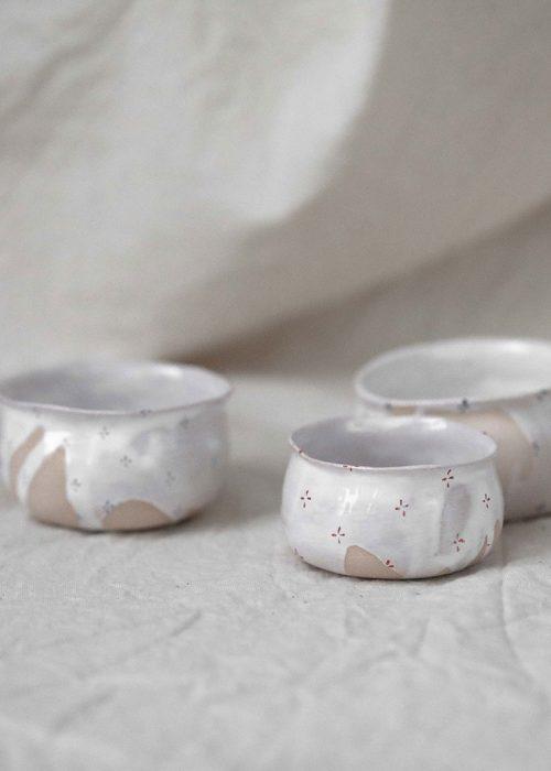Декоративные пиалы и соусники из керамики - Коллекция «Цветы с молоком» (Ручная работа)
