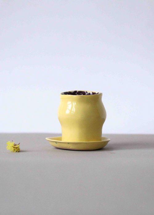 Керамический стакан с блюдцем - Набор «Лимоновый пирог» (Ручная работа)