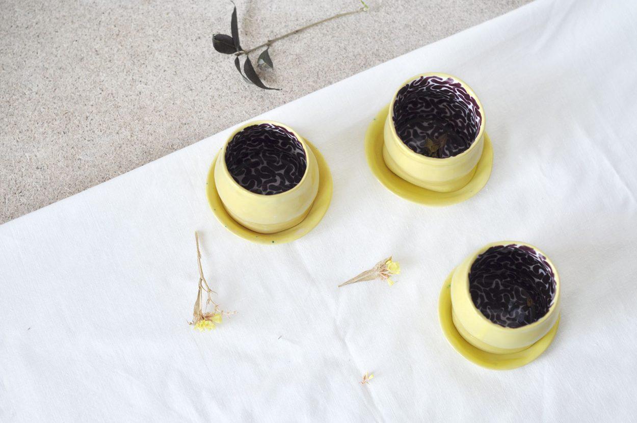 Набор декоративных стаканов «Лимоновый пирог» (Художественная керамика)
