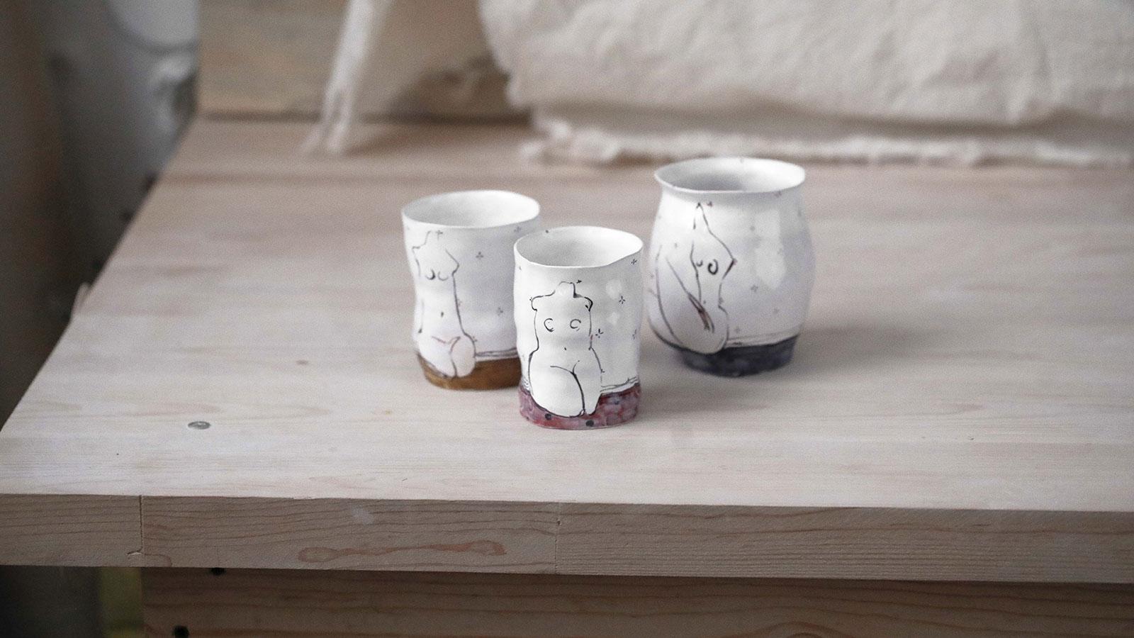 Декоративные стаканы из керамики - Серия «Обнаженные» (Ручная работа)