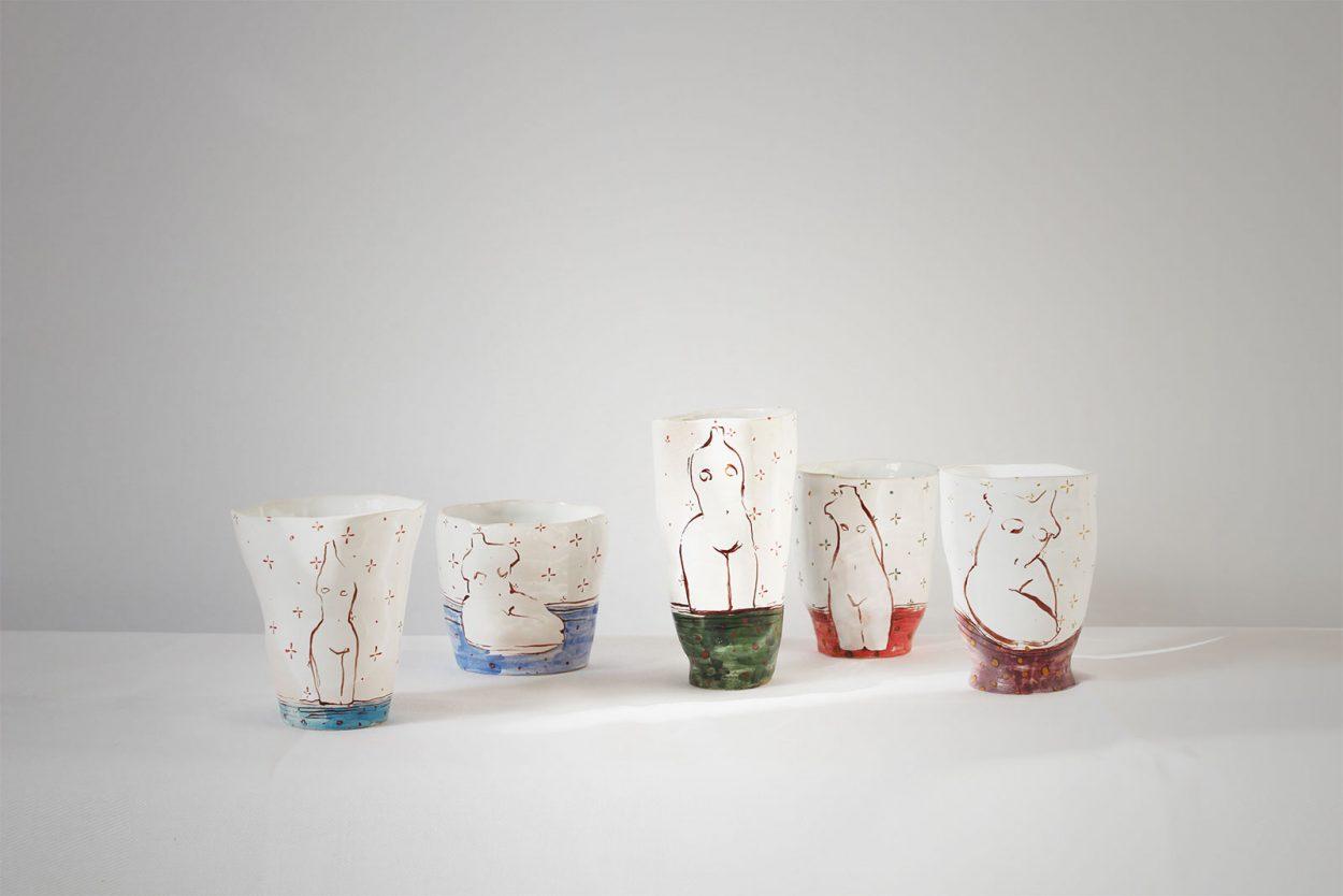 Серия декоративных стаканов «Обнаженные» (Художественная керамика)