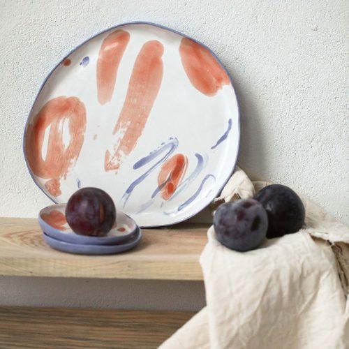 Декоративная керамическая тарелка - Серия «Апельсины» (Ручная работа)
