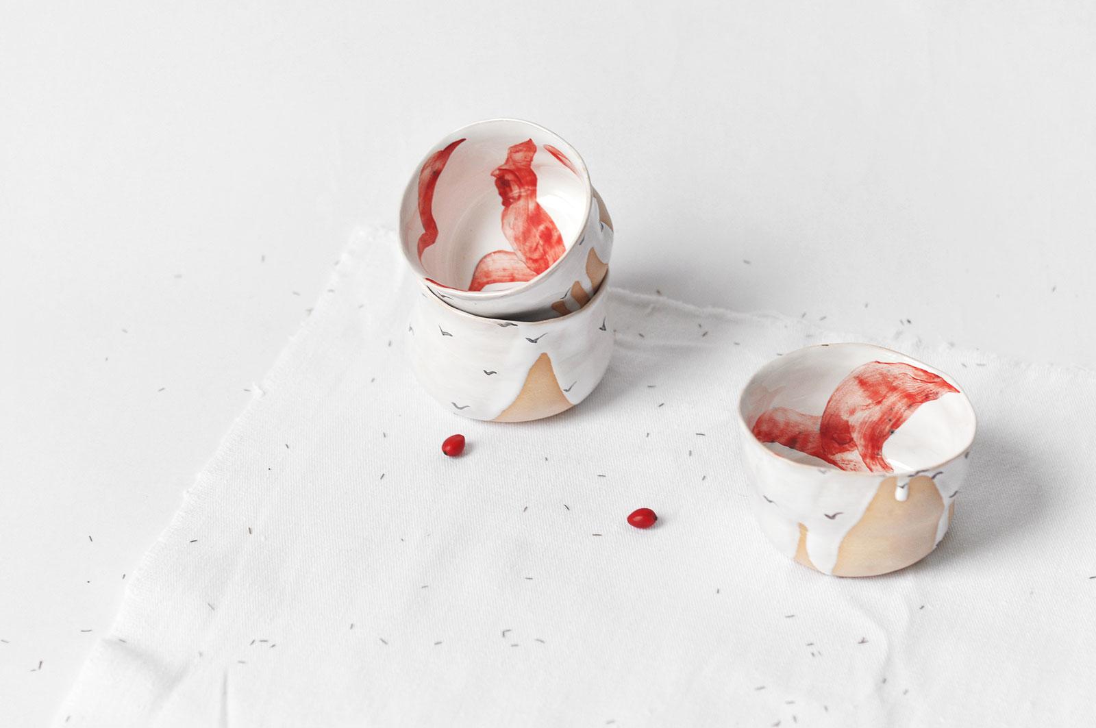 Декоративные пиалы из керамики - Коллекция «Чайки» (Ручная работа)
