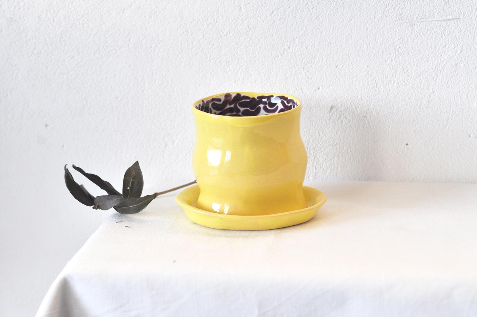 Стакан с блюдцем из керамики (Ручная работа)