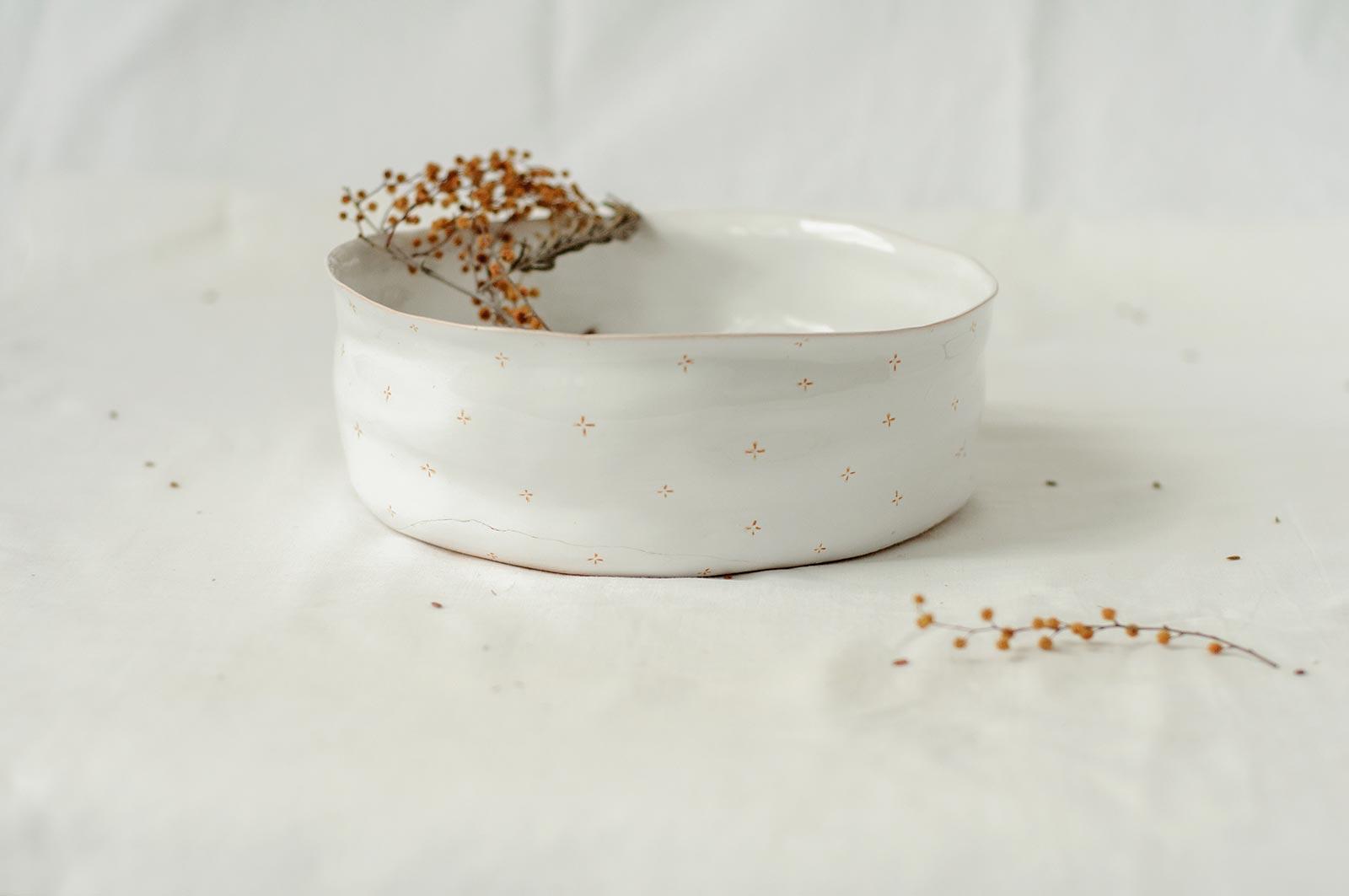 Большая глубокая тарелка из керамики (Ручная работа)