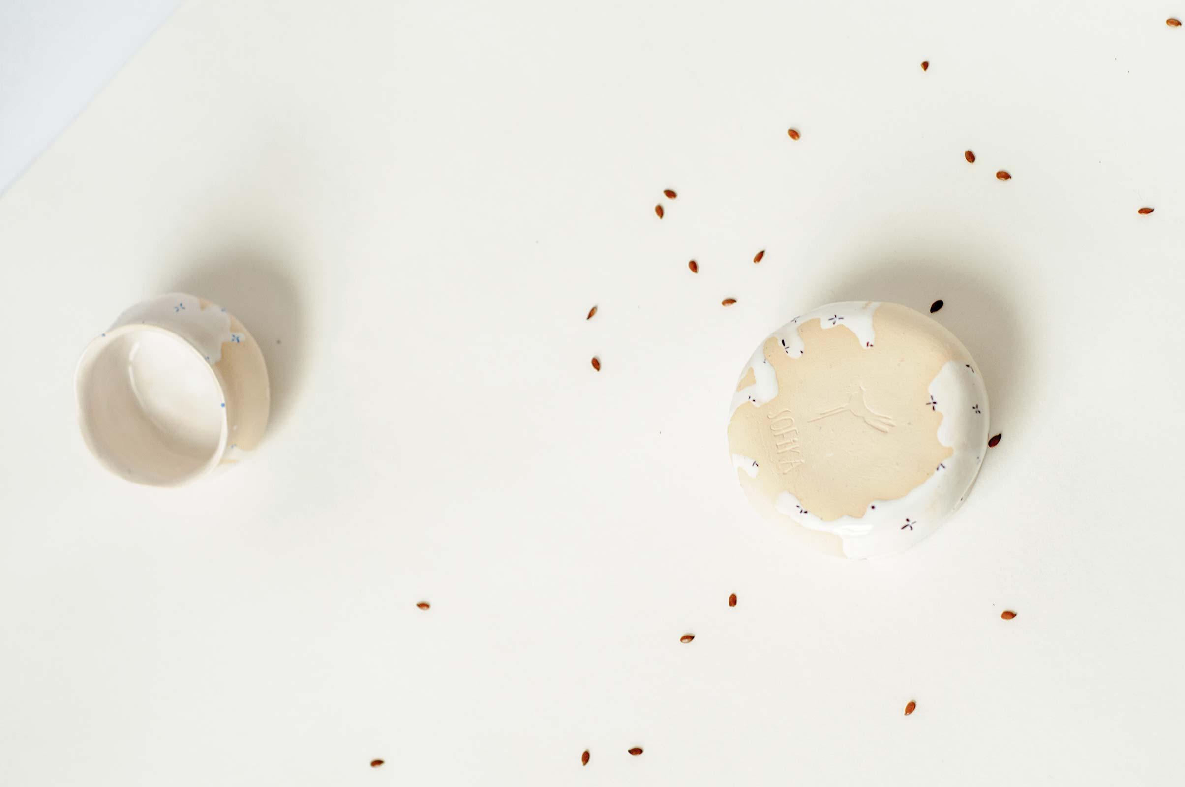 Вид сзади - Маленькая керамическая пиала (Ручная работа)