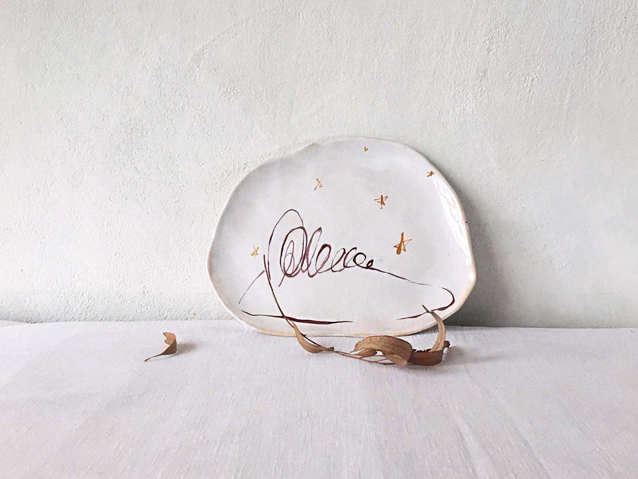 Тарелка ручной лепки «Ночной пейзаж»