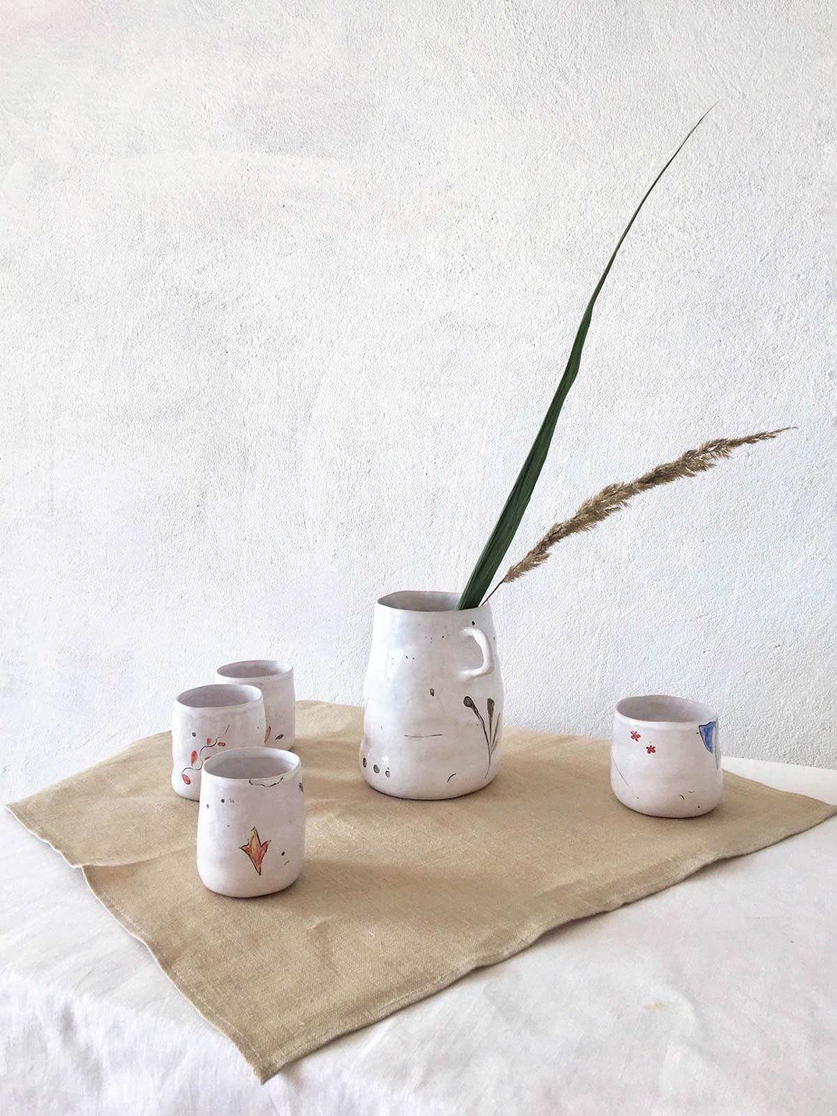 Керамические стаканы и кувшин, набор «Дикие цветы» - ручная работа