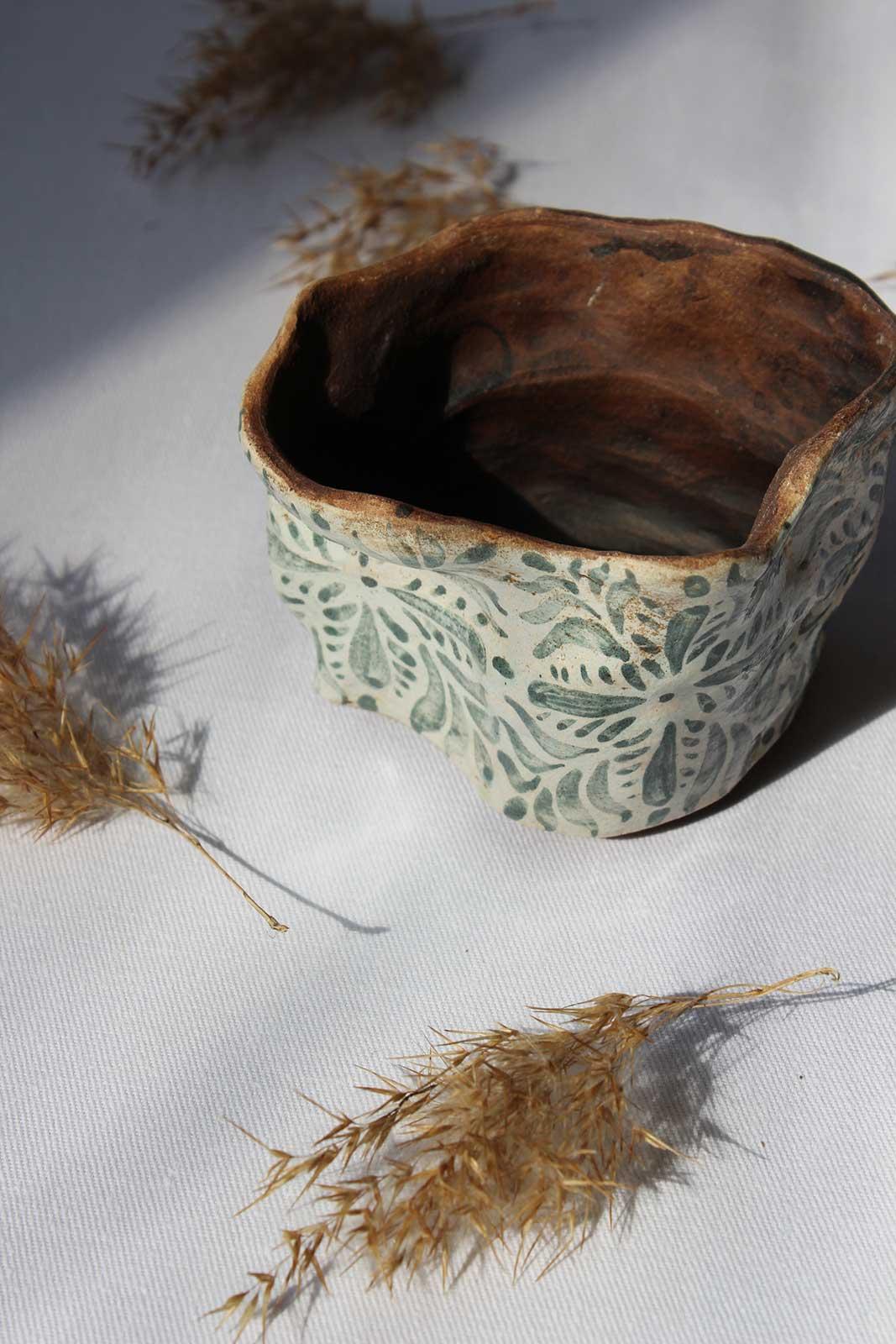 Вид сбоку - Декоративный горшок для цветов (Ручная работа)