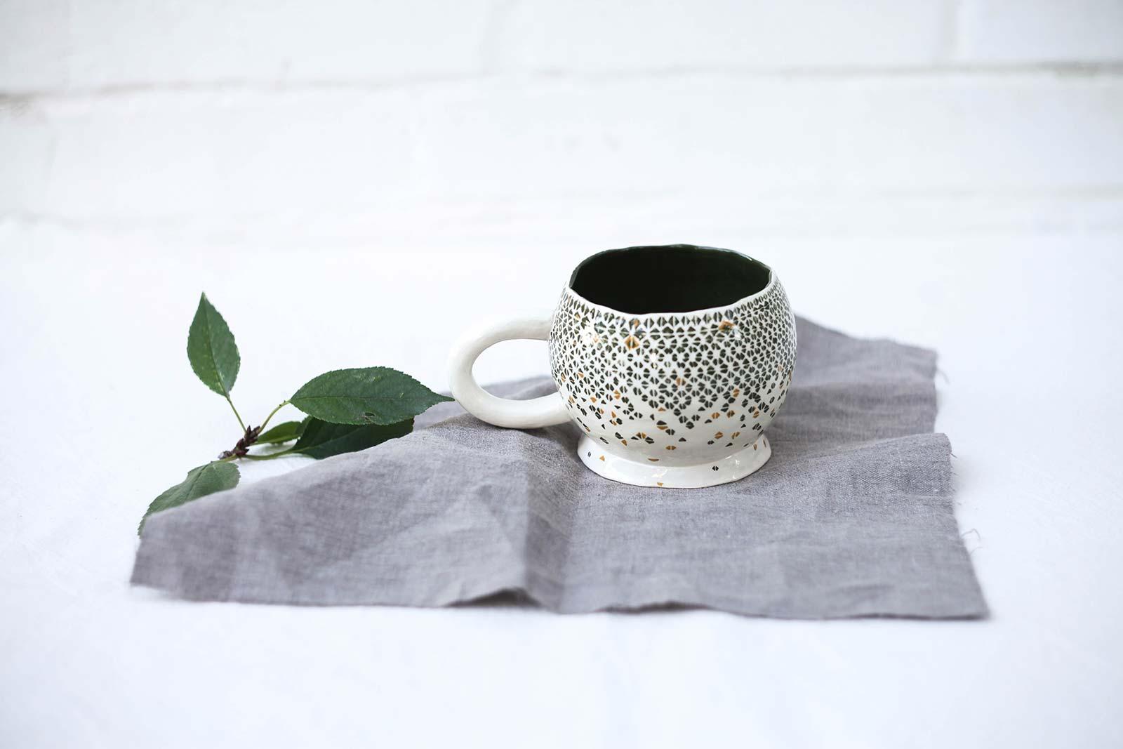 Большая керамическая чашка для чая (Ручная работа)