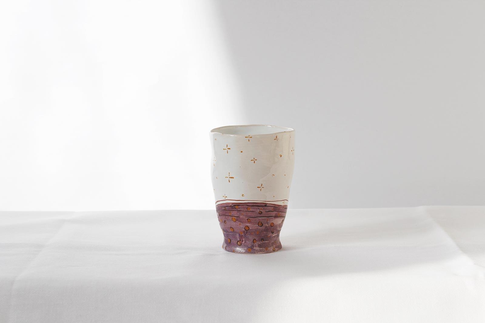 Вид сзади - Декоративная керамическая стакан (Ручная работа)