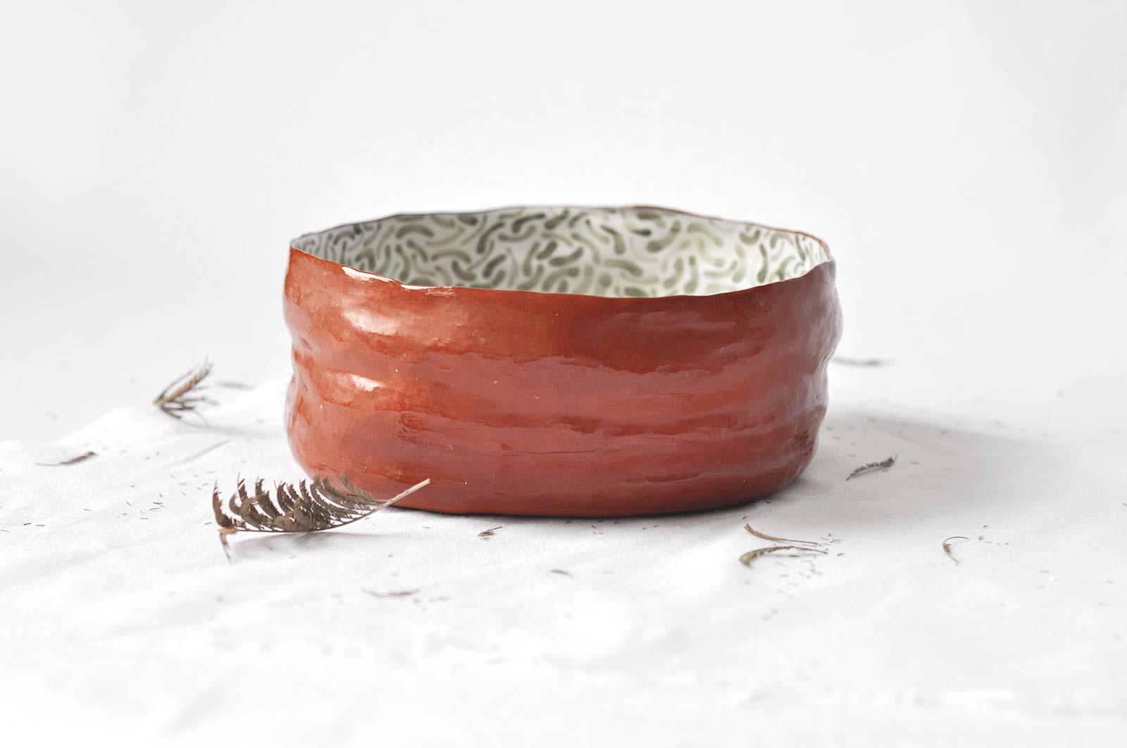 Большая глубокая тарелка из из керамики (Ручная работа)